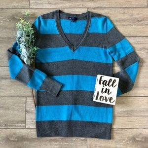 GAP Luxe V-Neck Stripe Rugby Sweater Gray